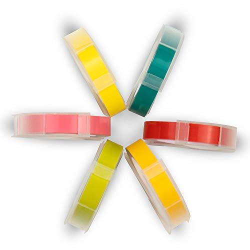 UniPlus Compatibile Dymo 3D Nastro Etichette a Rilievo, 9 mm x 3 m S0847750 3D Plastica Nastro Etichette per Dymo Omega S0717930 Dymo Junior S0717900 Etichettatrici, Confezione da 6