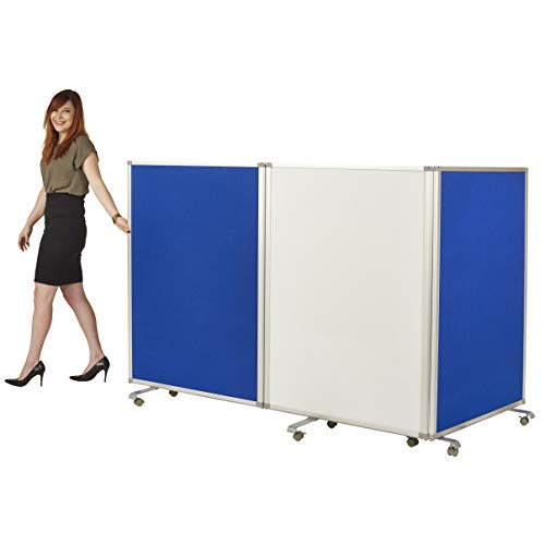 ECR4Kids Double-Sided Whiteboard and Flannel Room Divider, Mobile Writing and Display Lesson Board, Classroom Partition, Expandable Temporary Wall, Collapses for Easy Storage, 3-Panel