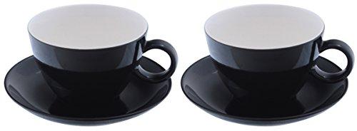 Milchkaffeetasse mit Untertasse schwarz Set