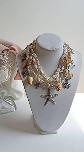 Collana Multifilo con Perle di Fiume, Ciondoli in Ottone e Conchiglie