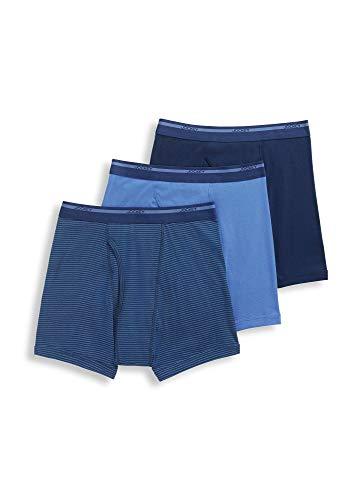 Jockey Men's Underwear Lightweight Classic Boxer Brief - 3 Pack, Just Past Midnight/Blue Stripe/Forget Me Not, XL
