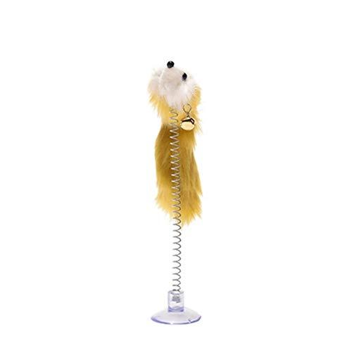 LUOSI Zufällige Farbe Kunststoff Katzenspielzeug Feder Lustige Katzenmäuse Form 20 X 10 cm Falsche Maus Haustierprodukte Bottom Sucker Elastic (Color : Random)