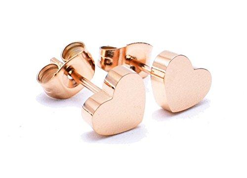 dames 14K rosé vergulde titanium stalen harten oorbellen, voor vrouwen meisjes. (s1401)