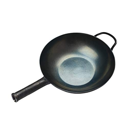 ZhenSanHuan HandHammered Iron Wok Flat Bottom Induction Suitable (32cm IronHandle with Help)