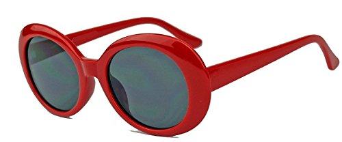 amashades Vintage Classics Ovale Retro Sonnenbrille für Damen 60er Jahre Stil KU18 (Rot)