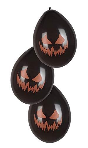 Boland 72304 6 ballonnen griezelige pompoen, zwart/oranje