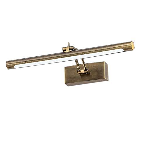 LED Retro Spiegellampe Vintage Metall Spiegelleuchte Spiegelschrank Schminklicht Antik Schminktisch Spiegelbeleuchtung Badezimmer Spiegellicht,Warmes Licht, Bronze,12w 55cm[Energieklasse A++]