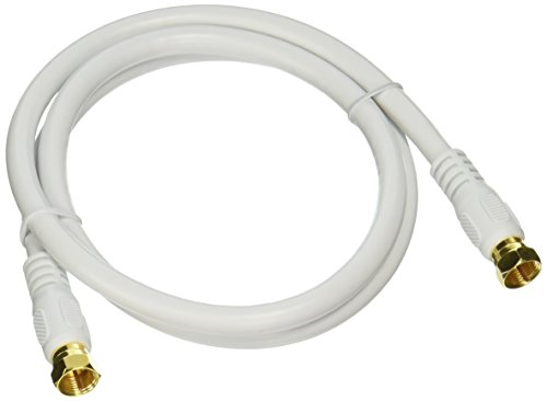 Monoprice 104057 RG6 Quad Shield CL2 Coaxial Cable with F Type Connector,White,3ft