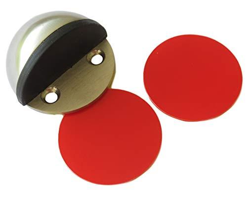 Smitt-beslag vloer deurstopper zelfklevend roestvrij staal (45 mm klein) - zonder boren/schroeven deurstop deurbuffer met twee kleefpads (1 stuk, 2 stk of 3 stuks)