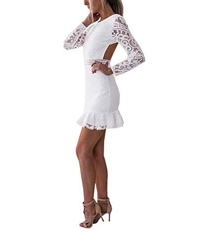 Loalirando Damen-Kleid, figurbetont, sexy, aus Spitze, rückenfrei, langärmlig, transparent, Mini-Robe Slim Weiß Gr. Medium, weiß