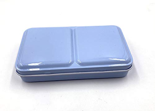 Aliotech Travel Artist Empty Watercolor Tins Box Palette Paint Case,Small Colorful Tin with 12 Pcs Half Pans (Fog Blue)