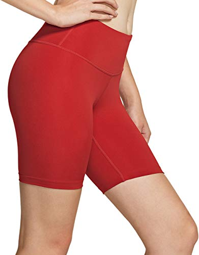 TSLA Fgs17 Short de yoga pour femme Taille moyenne/haute avec poche cachée, short de course et short opaque avec stretch athlétique Rouge Taille S