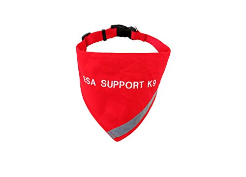 ESA Bandana with Reflective Strip for Dogs Safety at Night. Has Built in Matching Collar to Keep ESA Dog tag Secure | Metal Ring to Attach Leash | Four Colors (XS to Large) (Neck 16-24', Red)