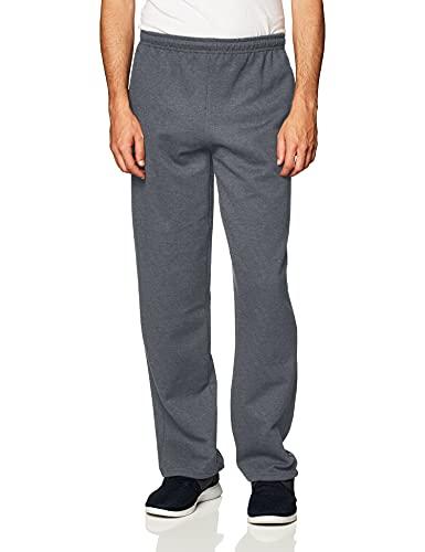 Gildan Men's Fleece Open Bottom Sweatpants with Pockets, Style G18300, Dark Heather, Large