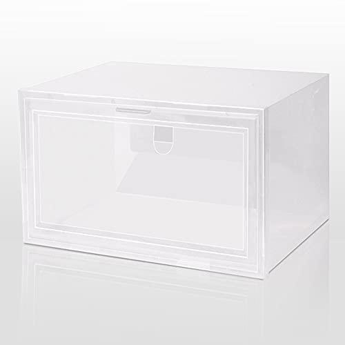 shengmo Caja de zapatos plegable apilable de plástico PP con tapa abatible, organizador de zapatos, cajón, caja de almacenamiento con puerta transparente para mujeres y hombres (color claro)