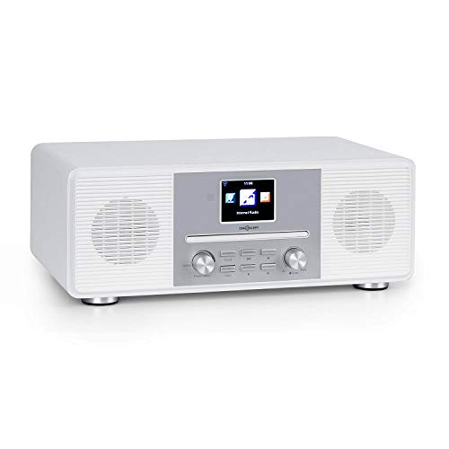 "oneConcept Streamo CD Internetradio, Radioempfang per WLAN, DAB/DAB+ und UKW, 2 x 10 W RMS, Bluetooth, CD-Player, Anschlüsse: AUX-IN, Kopfhörer, 2, 8\"" HCC Display, inkl. Fernbedienung, antikweiß"