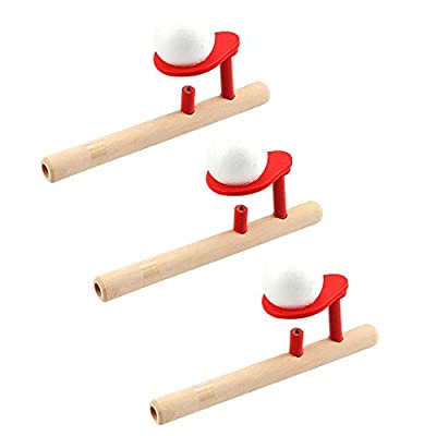 3pc Wooden Blowing Pipes and 6 Balls Toys, Classic Retro Wood Floating Ball Air Suspension Blowing Toys, Party Favors for Children Birthday Party BBQ Beach Pool Game, Gifts for Kids Baby Toddler (B)