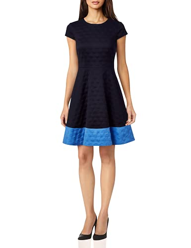 Eliza J Women's Textured Knit FIT and Flare Dress, Navy, 8