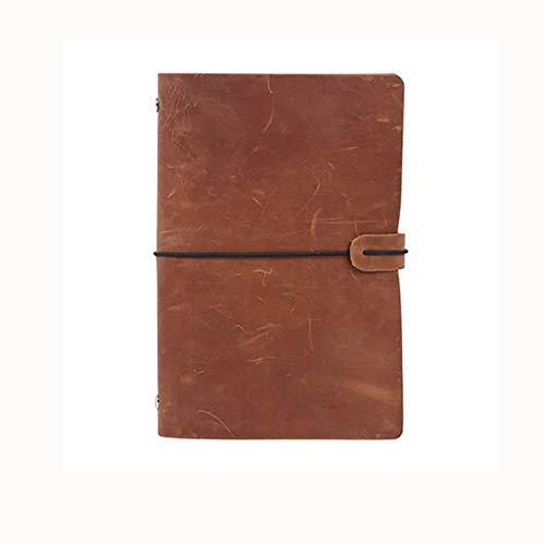SFF Cuadernos de Oficina Gruesa clásico Cuaderno A5 Wide Ruled Hardcover Escritura Notebook Brown Vintage PU de Cuero for Viajes Muchachos de Las niñas Cuaderno de Tapa Blanda (Color : Brown)