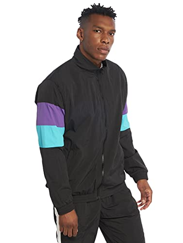 Urban Classics Herren 3-Tone Crinkle Track Jacket Jacke Black/Ultraviolet/Aqua Größe: L