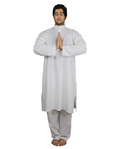 ShalinIndia -  Pigiama Due Pezzi - Uomo Bianco Bianco XL