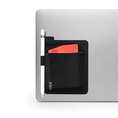 Fillit Pocket V2, Tech Holster, Black, Reusable Adhesive Pocket Storage for External Hard Drives, Battery Packs, Cables, and Other Small Personal Items
