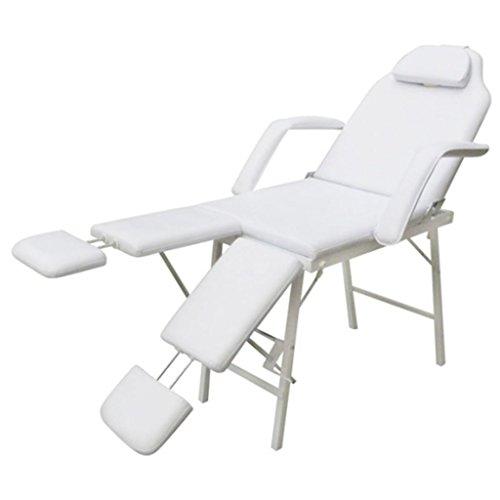 Sillón de podología color blanco crema reclinable y plegable con revestimiento–piel sintética