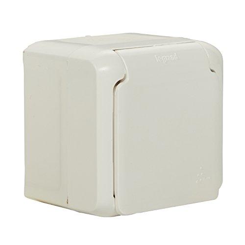 Legrand 782373forix 4000900290–Interruptor Combinación (Horizontal) IP44, enchufe con protección de contacto, tapa & Interruptor de 2pines, para montaje en la pared, Blanco