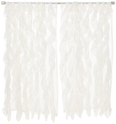 """Sweet Home Collection Sheer Voile Vertical Ruffled Window Curtain Panel, 63"""" x 50"""", Ivory, 2 Count"""