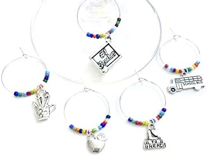 Teacher Gift School Teacher Appreciation Wine Charms end of school year gift Includes 1 Teacher product image