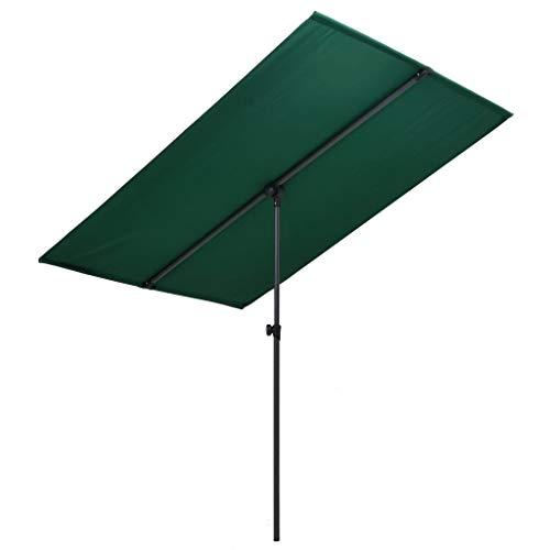 YueStar Sombrilla exterior con poste de aluminio 180x130 cm verde