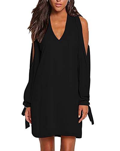YOINS Damen Kleider Sexy Schulterfrei Tshirt Kleid Sommerkleid für Damen V-Ausschnitt Lang Tunika Brautkleid mit Bowknot Ärmeln