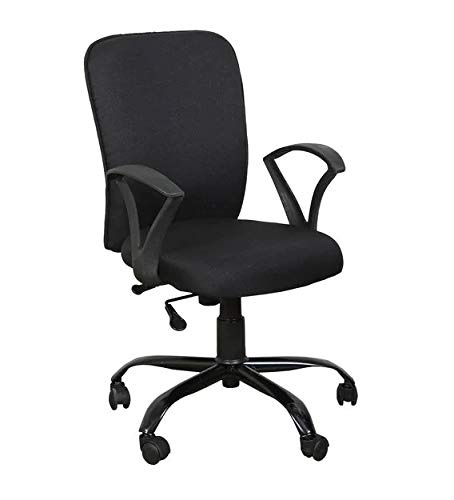 FURNICOM CHAIRS - Office/Study/revolving Computer chair for home work executive mid back base metal powder coated seat height adjustable & Comfortable armrest (Standard, black chairs)
