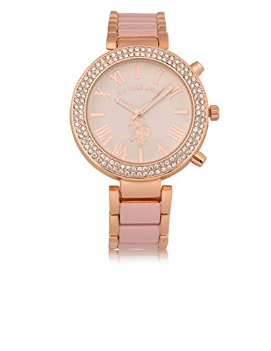 U.S. Polo Assn. Women's Rose-Gold Stainless Steel Quartz Watch with Alloy Strap, Silver, 18 (Model: USC40220)
