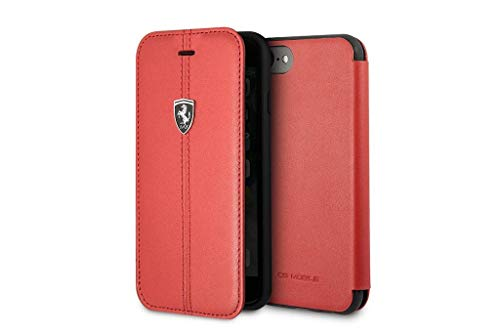 Ferrari FEHDEFLBKI8RE - Custodia in vera pelle per Apple iPhone 8/7, colore: Rosso