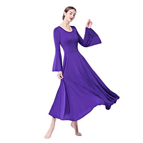 Vestidos de Fiesta Mujer Largos Litúrgico Manga Larga Leotardo Gimnasia Ballet Danza...