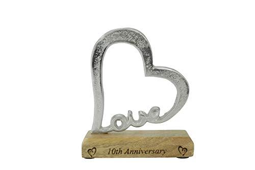 10th Anniversary Rustic Alluminium Heart Decoration – 10 Year Anniversary (hsslove10)