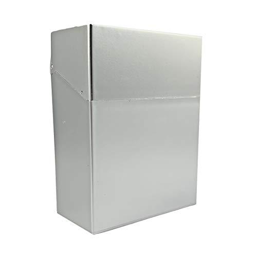 Zigarettenbox XXL für Big Box metallikfarben für 30 Zigaretten Etui Kunststoff Zigarettenaufbewahrung ohne Schockbilder (Silber)