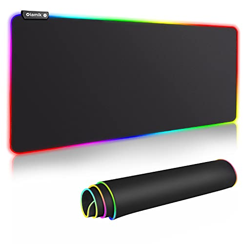 Mouse Pad Gaming XXL, Oiamik Full Desk Mousepad with Durable Stitched Edges, Oversized Glowing RGB Mouse Mat Extended Mouse Pads, Long Large Gaming Pad for Keyboard Gamer 900 x 400mm / 36x16in