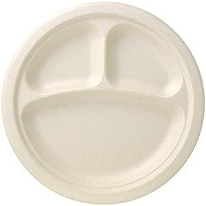 ストリックスデザイン ペーパープレート バガス モールド 丸皿 仕切り付き 50枚 未晒し 23.5cm 使い捨て 紙皿 耐水 耐油 電子レンジ対応 環境に優しい エコ アウトドア 業務用 SD-719