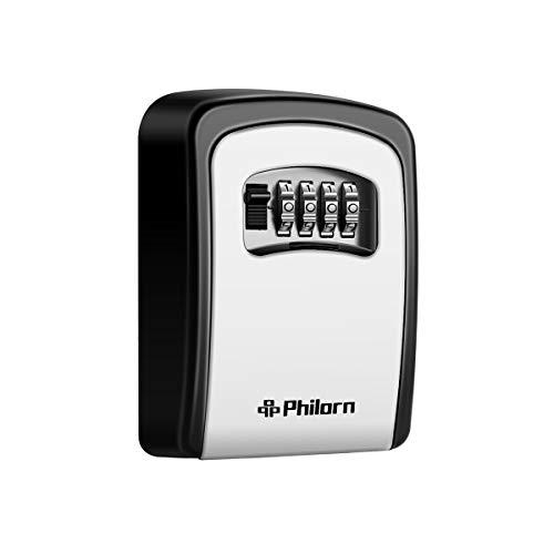 Philorn Schlüsseltresor, Schlüsselsafe mit Zahlencode Außen für Schlüssel, Karten | Rücksetzbarer Code - Wetterfest - Wand oder Tür Befestigung | Top Sicherheit, Ultra-robustes 4-Stellige Schlüsselbox