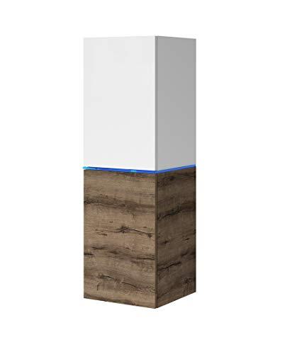 Domtech Woonwand, wit hoogglans donker eiken met ledverlichting hangkast hoogglans wandkast hangkast modern woonkamer tv-meubel hangend