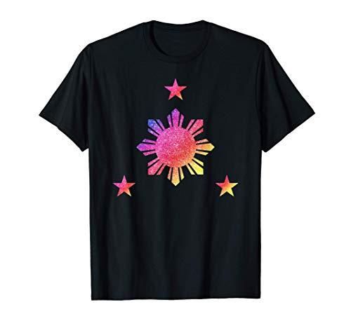 Philippines 3 Star and Sun Rainbow Filipino Flag T-Shirt