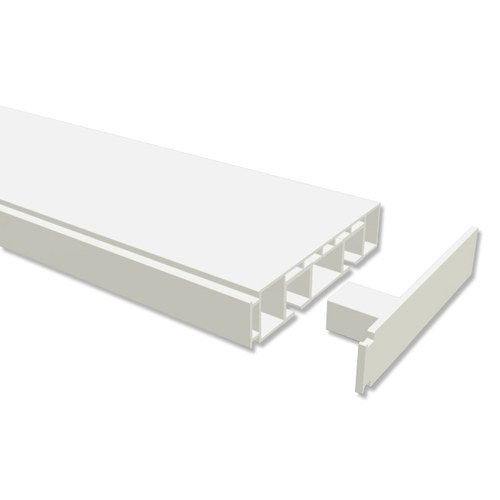 INTERDECO Gardinenschienen vorgebohrt Weiß 2-läufige Kunststoff Vorhangschienen 2-läufig, Concept, 210 cm