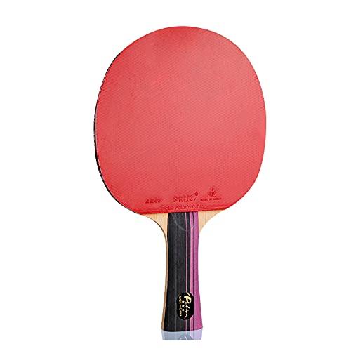 LINGOSHUN Raquetas de Ping Pong,Goma Ofensiva,Raquetas de Tenis de Mesa de Fibra de Carbono para Niños Principiantes,Juego Familiar para Adultos / 3 Stars/Long handle