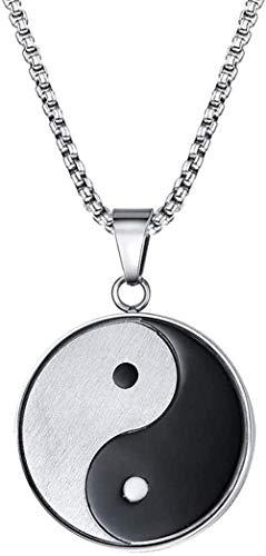NC66 Símbolo Misterioso Yin Yang Collar Colgante para Hombre Acero Inoxidable Chismes Meditación Yoga Joyería de Dos Tonos para Hombre Collar Colgante Yin Yang de 24 Pulgadas