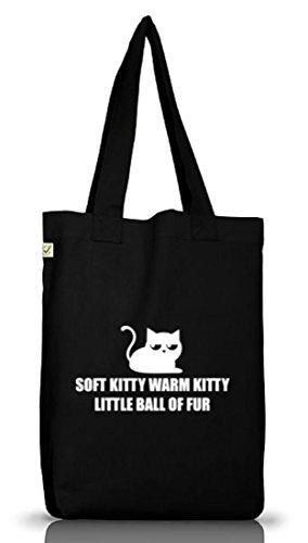 Shirtstreet24, Cat - Soft Kitty Warm Kitty, Jutebeutel Stoff Tasche Earth Positive, Größe: onesize,Black