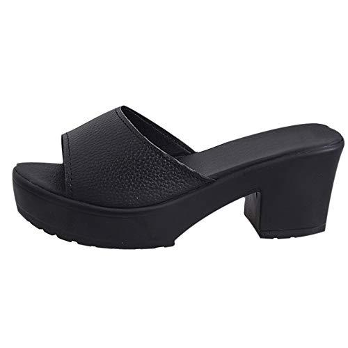 Sandaletten für Damen/Dorical Frauen High Heels Sandalen Plateau Offen Pantoffeln Outdoor Slipper mit 5 cm Absatz Casual Sommer Abend Schuhe Flandell 35-41EU (36 EU, Z02-Schwarz)
