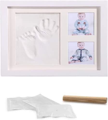 LAZY SPORTS Kit de cadre photo en bois pour mains de bébé et empreintes de pas pour garçons et filles. Ne craque pas au séchage. (Blanco-Arcilla)