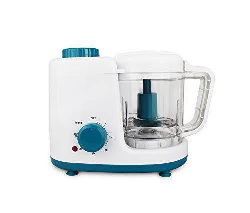 Leogreen - Baby-Küchenmaschine, Mixer für Babynahrung, Weiß/Blau, Funktion: 2 in 1 Dampfgarer und Mixer, Spannung: 220-240 V